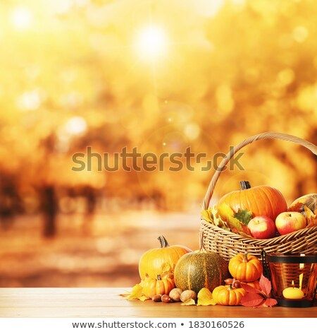 Basket with apples, pumpkins, autumn leaves, acorns, walnuts and firtree cones Stock photo © pressmaster