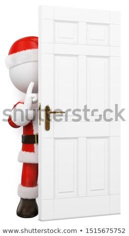 3D witte mensen kerstman verborgen achter deur Stockfoto © texelart