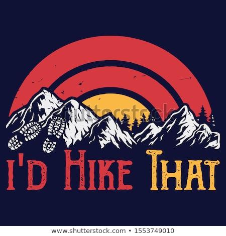 Mountain Adventure Graphic for T-Shirt, prints. Vintage hand drawn buffalo camp emblem. Retro summer Stock photo © JeksonGraphics