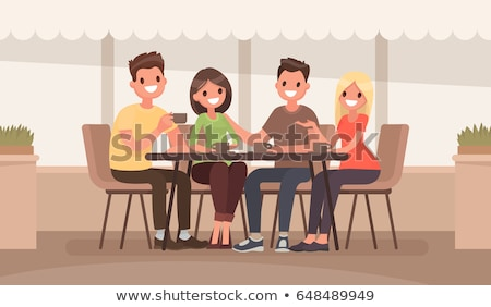 Man and Woman in Cafeteria, Coffeehouse Vector Stock photo © robuart