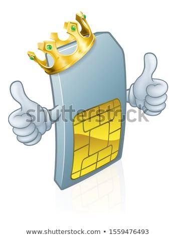 Sim Card Mobile Phone King Cartoon Mascot Stock photo © Krisdog