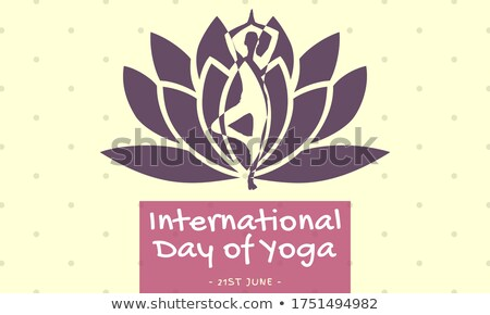 Yoga Day banner of person lotus pose tree Stock photo © cienpies