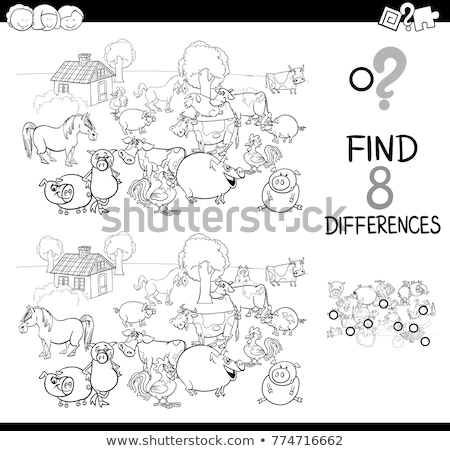 differences color book with farm animal characters Stock photo © izakowski