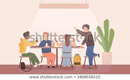 Iskolás beszél törik iskolások vektor diákok Stock fotó © robuart