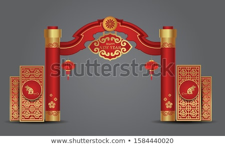 stylish red chinese new year of rat background  Stock photo © SArts
