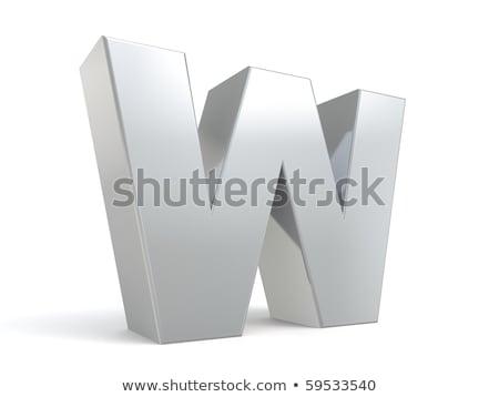 Brushed metal font Letter W 3D Stock photo © djmilic