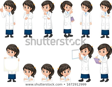 Girl in science gown doing different poses on white background Stock photo © bluering