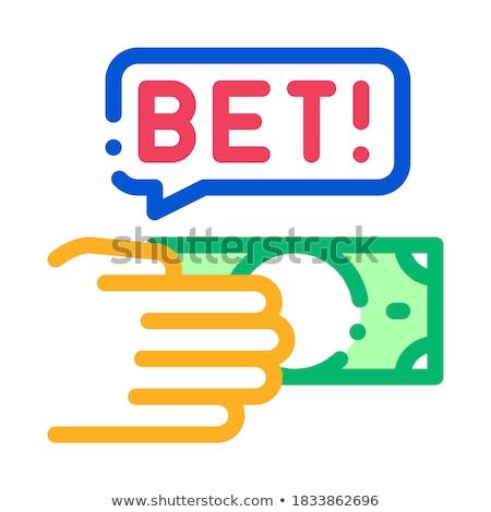 Kéz gyártmány fogadás fogadás hazárdjáték ikon Stock fotó © pikepicture