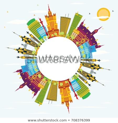 Варшава Skyline синий зданий копия пространства Сток-фото © ShustrikS