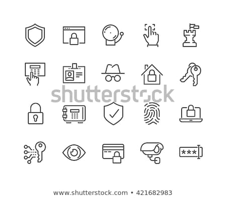 Secure Alarm Padlock Icon Vector Outline Illustration Stock photo © pikepicture