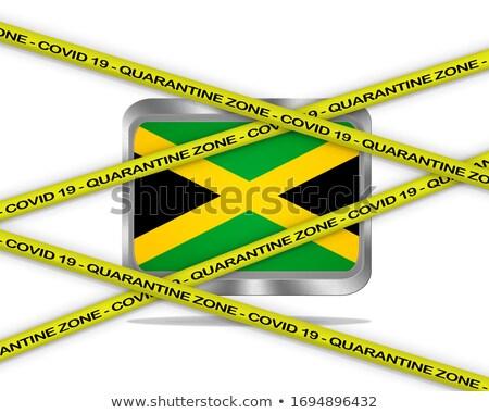Jamaica flag illustration. Coronavirus danger area, quarantined country. Stock photo © asturianu