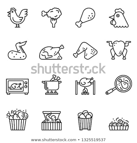 Balde frango pernas ícone vetor Foto stock © pikepicture