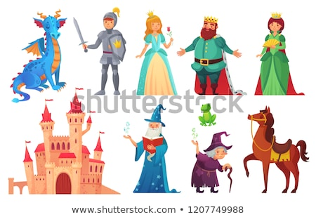 Set of children is fairy tale castle and dragon  Stock photo © bluering