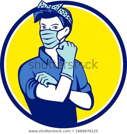Health-Care Worker Wearing Face Mask Mascot Stock photo © patrimonio