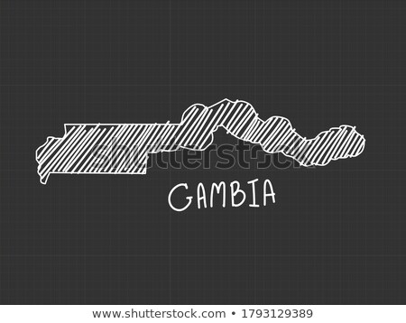 Gambia flag and hand on white background. Vector illustration Stock photo © butenkow