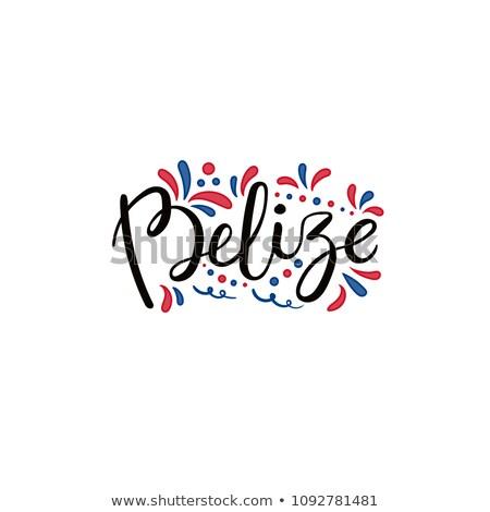 Belize zászló kéz fehér felirat utazás Stock fotó © butenkow