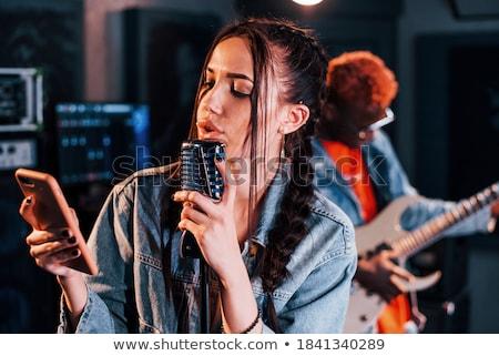 петь · песня · афроамериканец · девушки · красивой - Сток-фото © darrinhenry