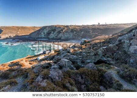 high tide surf waves at trevaunance cove st agnes cornwall stock photo © latent
