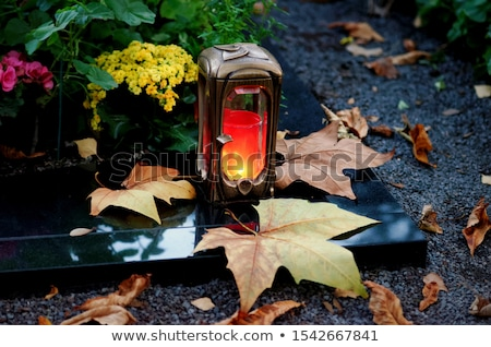 Tombstone and autumn leaves Stock photo © Elenarts