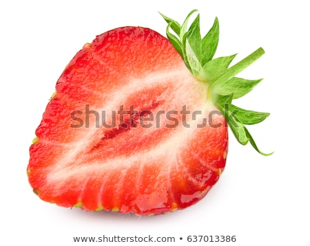 background of strawberry slices and green leaf stock photo © boroda