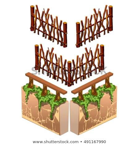 Mossy Wooden Fence Stok fotoğraf © lady-luck