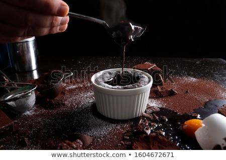 Chocolade desserts glazuursuiker ondiep dessert Stockfoto © danielgilbey