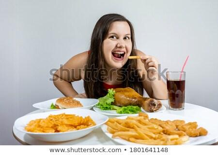 hambúrguer · batatas · fritas · branco · prato · servido - foto stock © koufax73