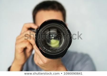 Kamera teleobjektív lencse fekete tükör digitális Stock fotó © broker