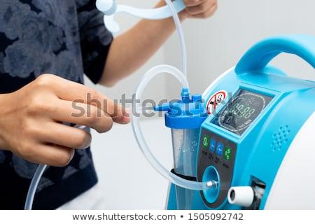 Foto stock: Oxígeno · masculina · respiración · máscara · de · oxigeno · retrato