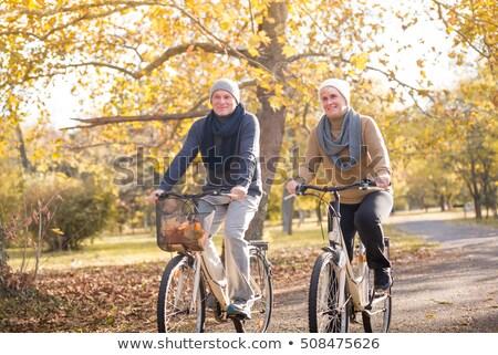 paar · fietsen · najaar · man · bos · reizen - stockfoto © photography33