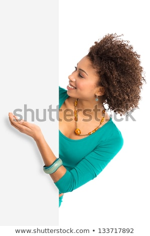 cheerful young woman posing with white board stock photo © acidgrey
