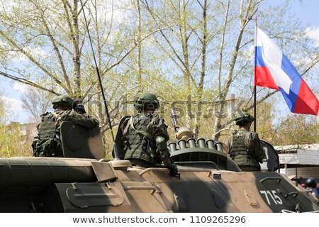 Foto stock: Russo · soldado · quadro · ilustração · isolado