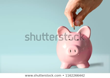 piggy bank and hand with coin stock photo © neirfy