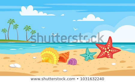 Gaviotas playa olas vuelo cielo azul cielo Foto stock © Gordo25