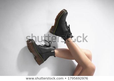 Stok fotoğraf: Bacaklar · beyaz · bot · fishnet · çorap · çıplak