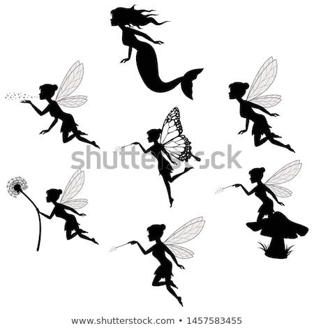tündér · szárnyak · sziluettek · terv · női · mágikus - stock fotó © koqcreative