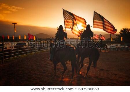 Stockfoto: Cowboy · vrouwen · Amerikaanse · vlag · meisje · sterren · vrijheid