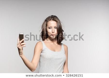 hispânico · mulher · telefone · móvel · adulto · sessão - foto stock © pablocalvog