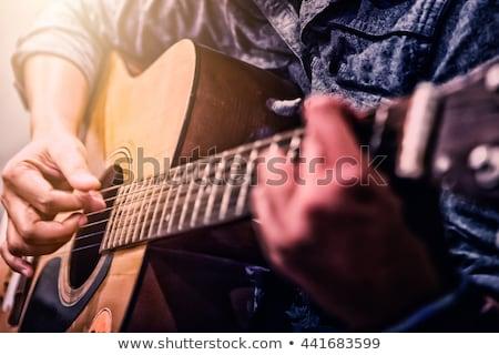 Gitár gyönyörű nő nő játszik citromsárga elektromos gitár Stock fotó © kittasgraphics