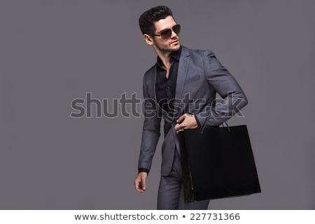 Сток-фото: красивый · мужчина · костюм · фотография · человека · счастливым