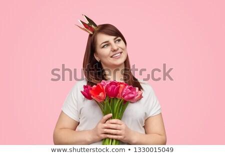 Kobieta princess korony tulipany Zdjęcia stock © chesterf
