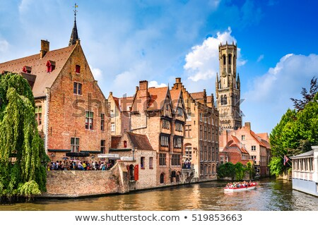 運河 ベルギー 歴史的 建物 家 ツリー ストックフォト © TanArt