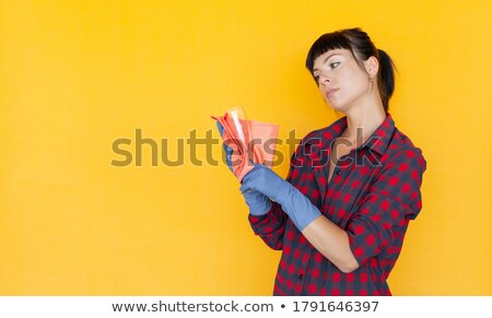 Photo stock: Glass Cage For Cute Woman