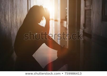 Portré szomorú fiatal nő nyomasztó néz arc Stock fotó © stryjek