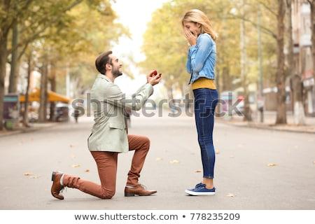 男 · ガールフレンド · 提案 · ロマンチックな · ディナー - ストックフォト © dolgachov