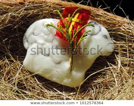 Пасху ягненка сено красный флаг синий Сток-фото © filipw