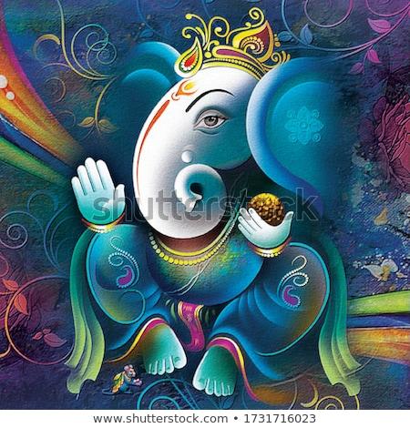 Szobor indiai Isten izolált fekete elefánt Stock fotó © pazham