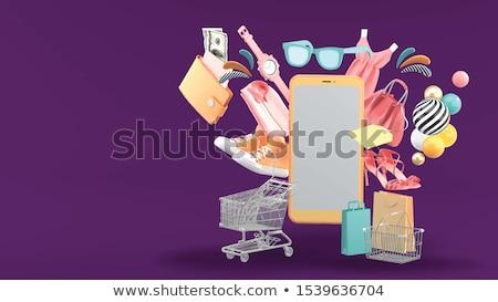 Vrouw winkelen schoenen vector mode meisje Stockfoto © beaubelle
