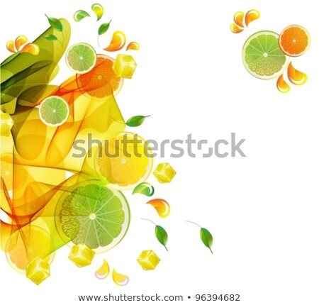 orange and lime juice colorful splash with abstract wave stock photo © elmiko