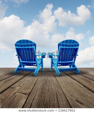 Azul cadeiras dois grama verde madeira casa Foto stock © kimmit